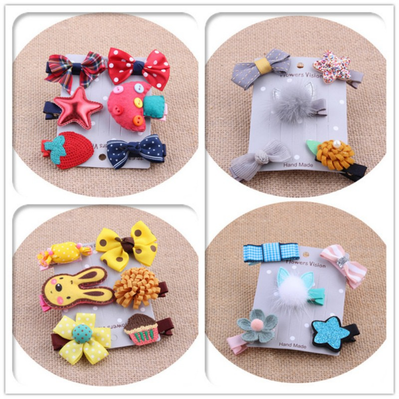 Baby 5pcs/set Cute Princess Baby Girls Hair Clips Imitation Mink Hair Barrette Baby Hair Accessories 2019 Clips For Child