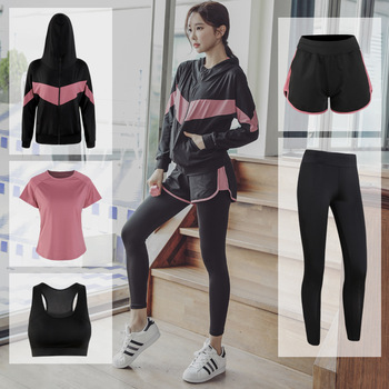 New Women Yoga Set For Female Sports Gym Fitness Clothes Tracksuit Plus Size Workout Running Bra T-shirt Shorts Pants Sportswear