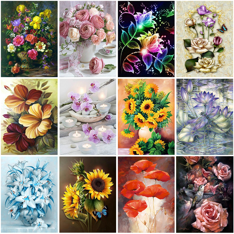 Desk Flower Full Drill DIY 5D Diamond Painting Cross Stitch Kits Home Mosaic Art