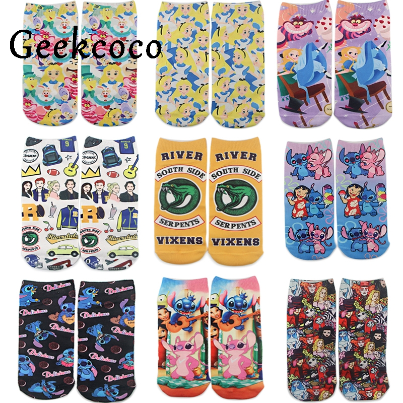 J1128 Cartoon Princess Fashion Sports Short Socks Riverdale Tv Show For Kids Men Women 3D Printed Pattern Hip Hop Cotton Sock