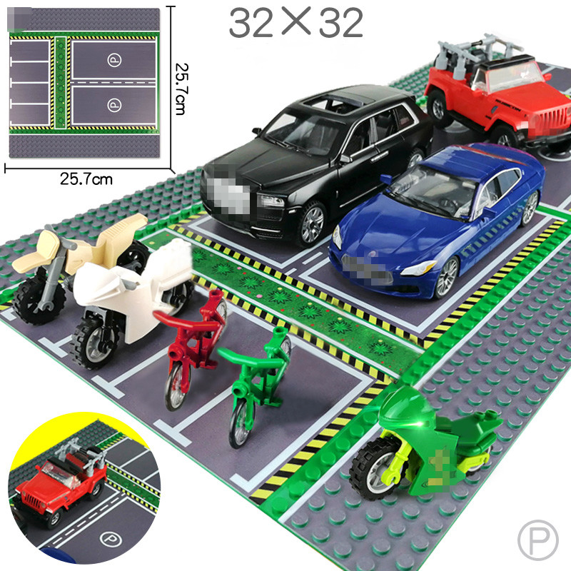 City Street View Legoingly <font><b>BasePlate</b></font> <font><b>32*32</b></font> Road Parking Lot Base Plate Road Plate Building Blocks Bricks DIY Toys For Children image
