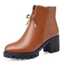 AIYUQI Platform Ankle Boots Women Warm Winter Large Size Womens Shoes Thick Heel Non-slip Snow Of
