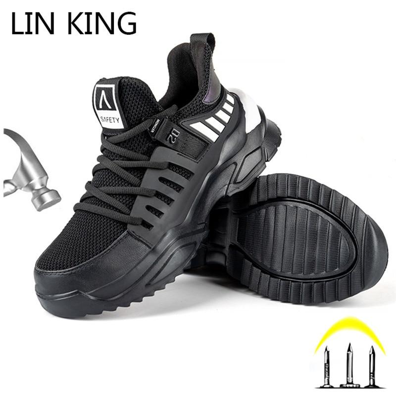 Отримання лінія короля Дихаюча сітка робоча робота Чоботи для чоловіків Анти пірсинг Будівельна сталева ноутбука Робоча взуття Легкова безпека кросівки