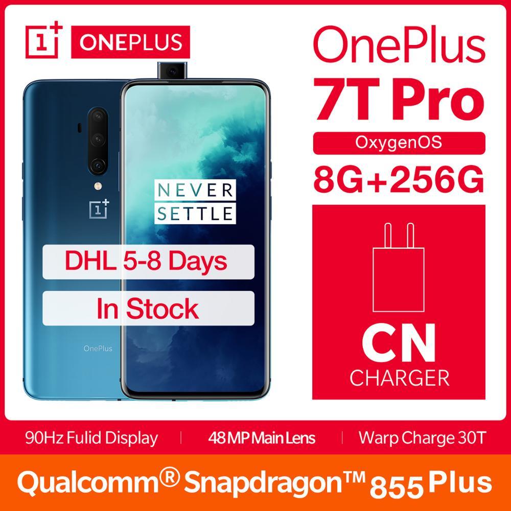 """2019 Global ROM OnePlus 7T Pro 8GB 256GB Smartphone Snapdragon 855 Plus Octa Core 6.67"""" Fulid 90Hz Display NFC UFS 3.0 4085mAh"""