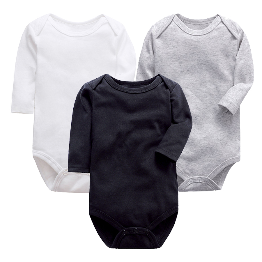 High Quality Solid Color Newborn Baby Jumpsuit Romper Black White Gray Long Sleeve Babies Clothing