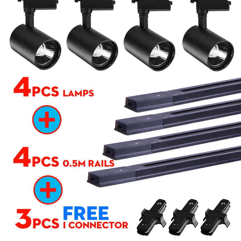 Whole Set Led Track Lights 12/20/30/40W COB Track Lamps For Shop Rail Aluminum Spotlights For Clothing Store Track Lighting
