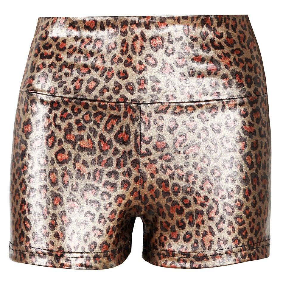 Shiny Shorts Women Gold Mid Waist Shorts Female Thin Leopard Elastic Spandex Shorts Fashion Sexy Club