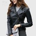 Женское байкерское пальто из натуральной кожи черного и красного цвета  байкерские куртки из овечьей кожи  стеганые куртки из овечьей кожи ...