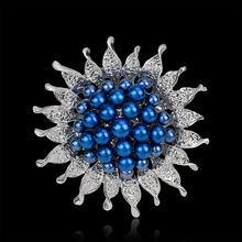 Fashion sunflower brooch, alloy pearl brooches brooch