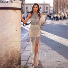 Serene Hill Mermaid Tassel Luxury Halter Rhinestones Evening Dress 2020 Party Gown Sleeveless Sexy Slit Robe de Soiree CLA60776