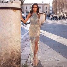 Serene Hill vestido de noche de lujo con borlas de sirena, vestido de fiesta con diamantes de imitación, sin mangas, Sexy, con aberturas, CLA60776, 2020