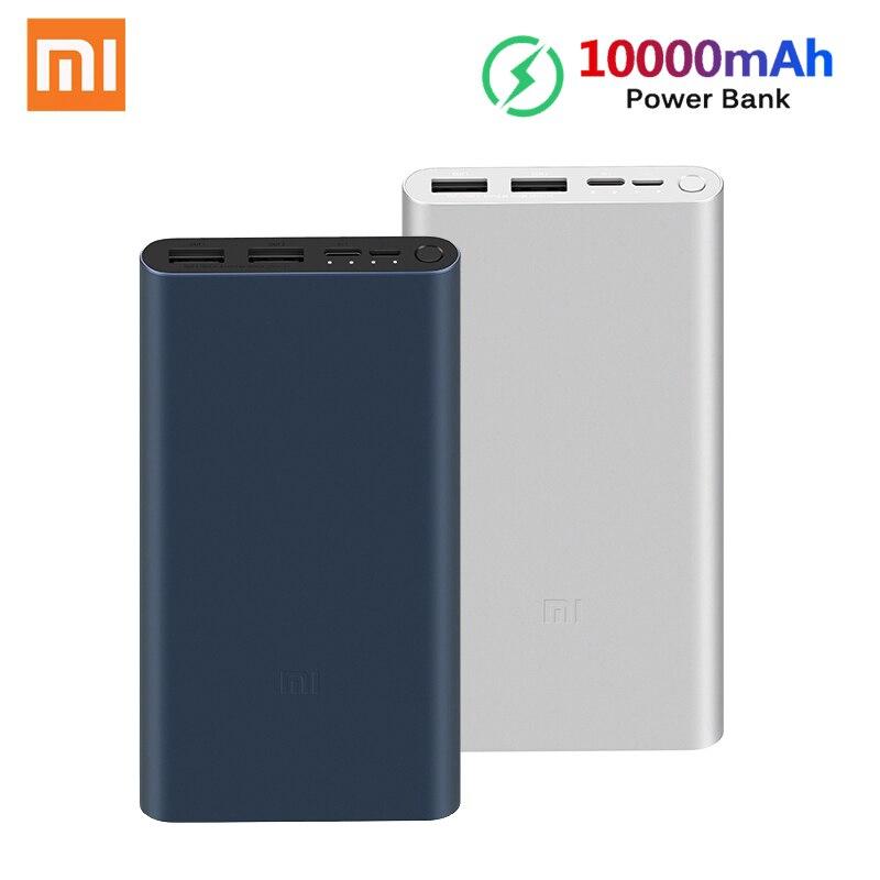 Xiao mi Оригинал mi power Bank 3 18 Вт 10000 мАч Быстрая зарядка Dual-USB Alu mi nium power bank быстрое зарядное устройство Портативный внешний аккумулятор