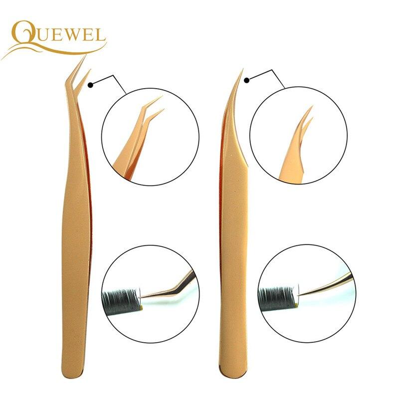 Tweezers Set of Eyelashes Extended Tweezer Anti-static Stainless Steel High-precision Acid-resistant Eyelash Quewel Tools