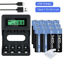 1,5 v AA Wiederaufladbare Lithium-ionen Batterien 3400mWh AA 1,5 V Lithium-Polymer-Batterie Aa Batterie 1,5 v AA batterie
