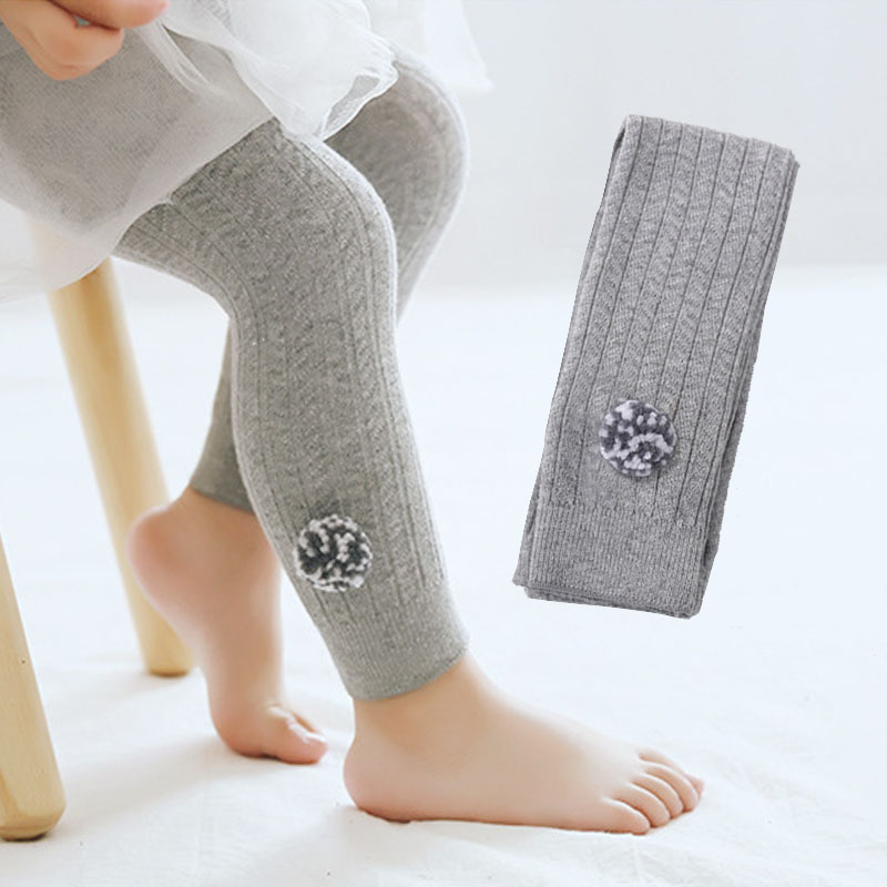 Autumn New Cute Plush Ball Cotton Children Kids Baby Leggings Baby Girl Boy Pants Newborn Knitting Leisure Pants