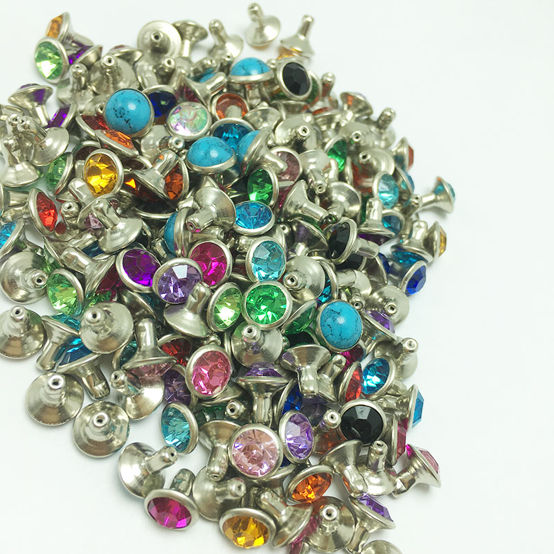 50sets 6mm Mix Color Crystal Rhinestone Silver Rivets Diamante Stud DIY Crafts Clothing Leather Decor Rebite Spikes Glass Button