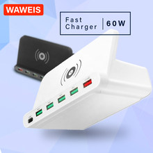 WAWEIS 60W USB 2.0 Type C 3.0 Multi Function Qi Wireless Fast Charger for iPhone 11/X/8 Samsung s10 s9 Wireless Charging Station(China)