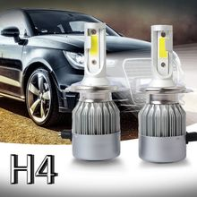 New 2pcs C6 LED Car Headlight Kit COB H4 36W 7600LM White Light Bulbs
