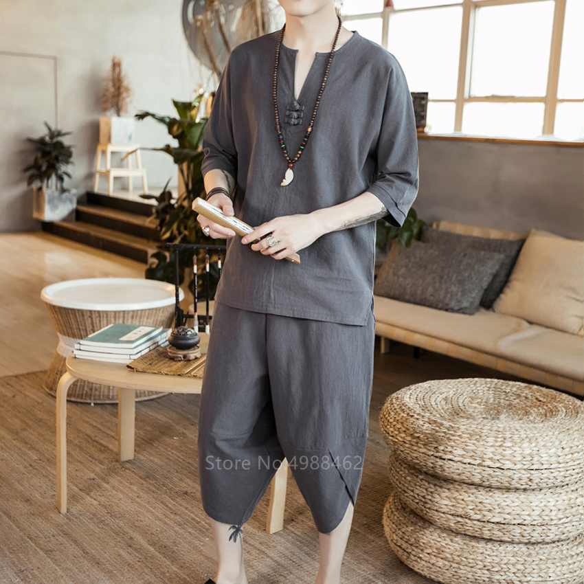 Chinese Style Fashion Linen Tang Suit Clothes Men Traditional Clothing Kung Fu Taichi Costume Casual Streetwear Pants Shirts Set