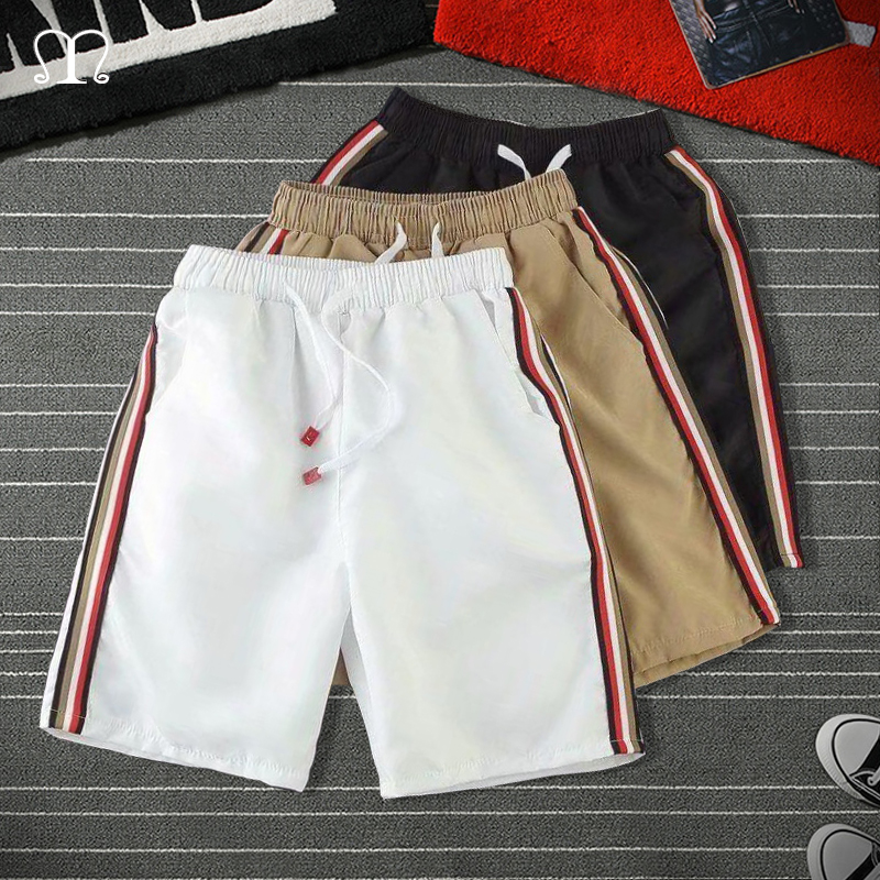 Summer Men Shorts Homme Fashion Striped Elastic Waist Sandy Beach Shorts Male Casual Bodybuilding Hip Hop Loose Sweatpants Mens