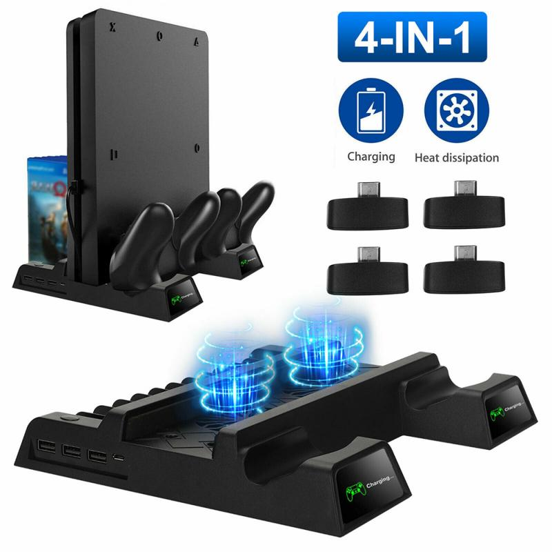 For PS4/PS4 Slim/PS4 PRO Vertical Stand with Cooling Fan Dual Controller Charger Dock Station for SONY Playstation 4