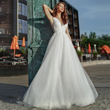 Verngo A-line Wedding Dress Lace Appliques Gowns Elegant Flowers Bride V-neck Backless Boho 2020