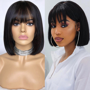 Image 1 - LUFFYHAIR Bob Cut 13X6 Lace Front Short Human Hair Wigs With Bangs Pre plucked Brazilian Remy Straight Hair For Women