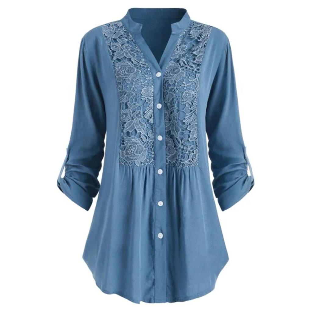 Plus Größe Bluse frauen блузка женская Sommer herbst tops und blusen Taste Spitze V-ausschnitt Langarm shirts Freies verschiffen #3