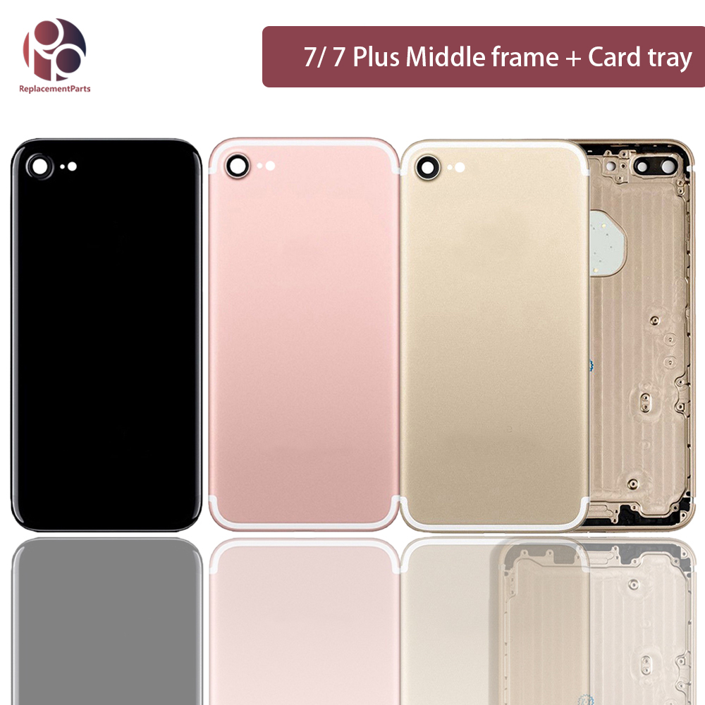 For Iphone 7G 7P 7 Plus Back Middle Frame Chassis Replacement-parts Housing Assembly Battery Cover Case Sim Card + IMEI