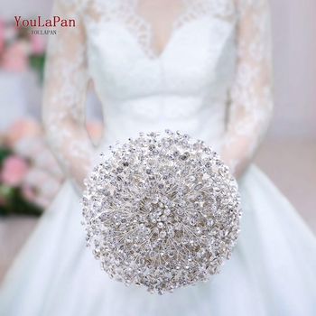 YouLaPan HF02 Luxury Rhinestone Bouquet  Stunning Diamond Wedding High Quality Jewelry