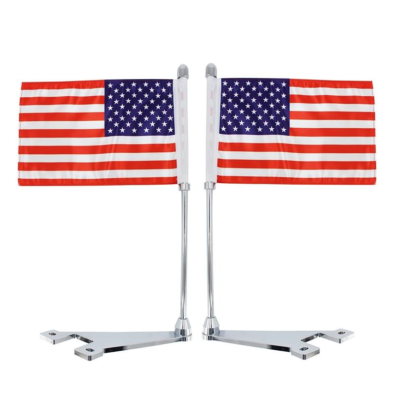 Flag for Harley Road King 1X Rear Luggage Rack Mount Flag Pole /& American U.S.A