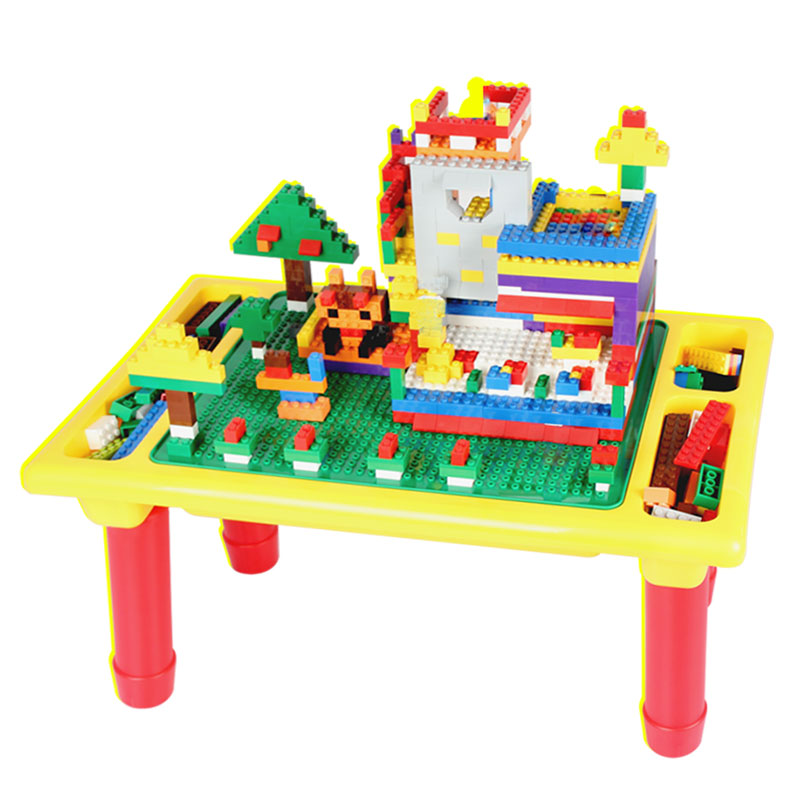 Multi-function Blocks Table With Baseplate DIY Creative Brick Desk Educational Toy For Kids Small Blocks