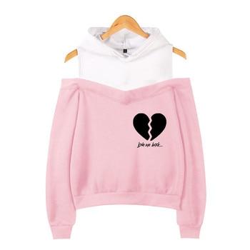 New Fashion Ladies Coat Sweatshirt Hooded Clothing Girl Off-the-shoulder Hoodie Summer American Net Red Pink Hip-hop Harajuku 3D