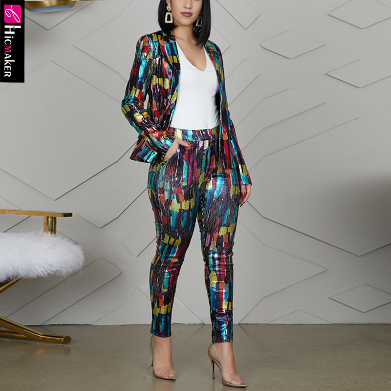 Women Plus SizeTwo Piece Matching Sets Tie Die Printed Long Sleeve Blazer & High Waist Bodycon Skinny Pants Chic Suit