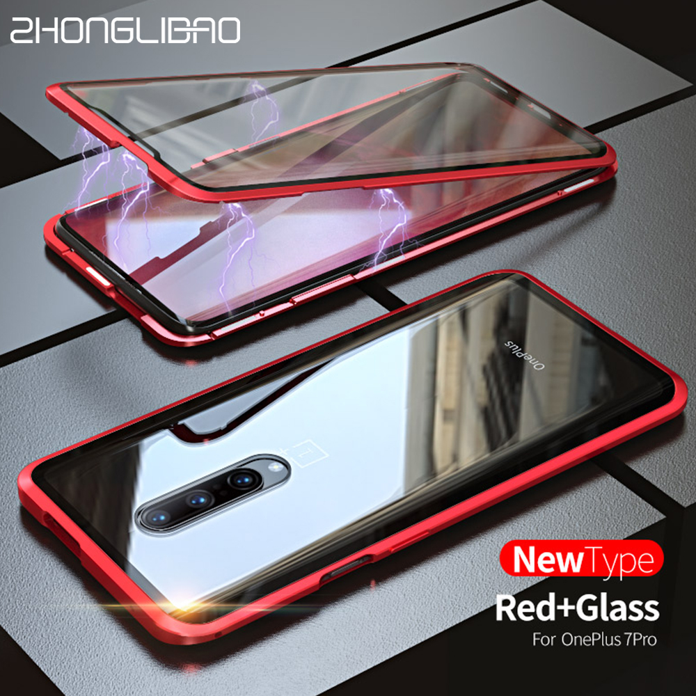 9H Tempered Glass <font><b>Case</b></font> For <font><b>Oneplus</b></font> 7 Pro 6t <font><b>6</b></font> Magnetic For One Plus 7Pro cover Front+Back double-sided Screen 360 Full Body caqa image