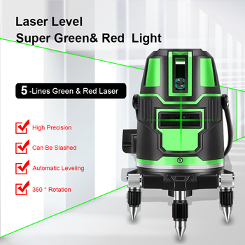 цена на 5 Line 6 Points Green & Red Beam Line 360 Degrees Rotary Outdoor Mode - receiver and Tilt Slash Available Auto Line laser Level