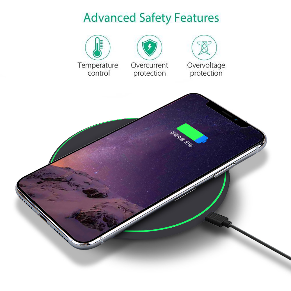 FDGAO Wireless Charger For iPhone X Xs Max Xr 8 Plus 10W Qi Fast Wireless Charging Pad For Samsung S10 S9 Note 9 AirPods Charger in Wireless Chargers from Cellphones Telecommunications