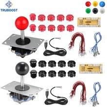 2 jugadores 2Pin DIY juego de Arcade Joystick Kits de Arcade botones + controlador USB Joystick Cables piezas de juego de salón recreativo mezcla de Color