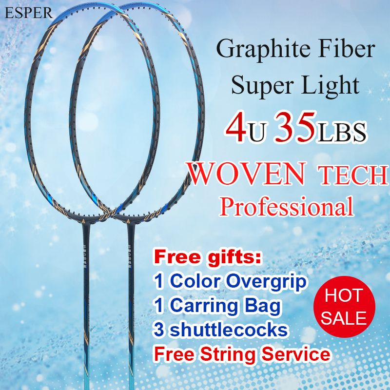ESPER Profenssional Badminton Racket 4U Lightweight Carbon Fiber Racquet Graphite 35LBS With String Bag Shuttlecock For Adult