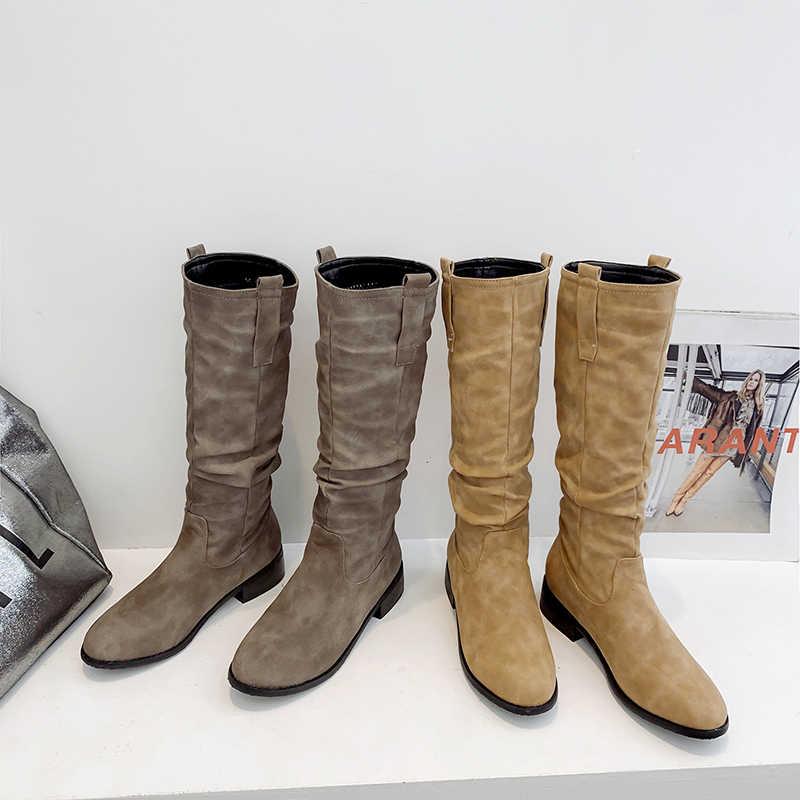WETKISS Düşük Topuklu Çizmeler Kadın Diz Yüksek Çizme Yuvarlak Ayak Ayakkabı Kadın Pileli Ayakkabı Bayanlar Zip Ayakkabı Kış 2019 Artı boyutu 32-46