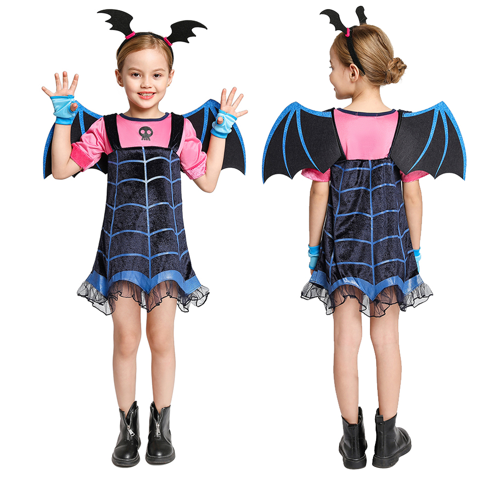Kids Vampire Costume Girl Headband Girls Princess Dresses Vampirin Children Birthday Party Fancy Cosplay Clothing
