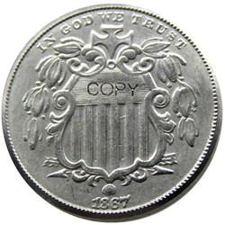 1867 щит с лучами пять центов копия из никеля монет