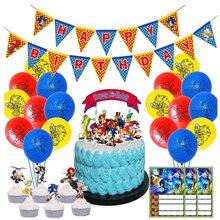 Sonic зубная щётка Ежик одноразовые столовые приборы Baby Shower День рождения пластины флаги/обертки праздничные украшения из шаров