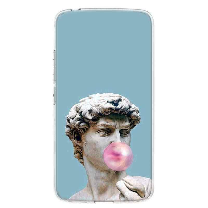 ギリシャ神話石彫刻電話 Moto モトローラ G8 E4 E5 E6 G7 G6 G5S プラス再生パワー 1 アクションカバー Coque ソフト s