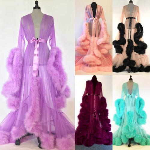 Lady Loose Long Sleeve Robes Women Lace Mesh Feather Patchwork Sleepwear Robes Sexy Lingerie Nightwear Babydoll Sleepwear Robe