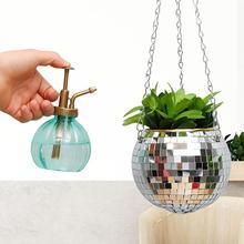 Disco Ball Hanging Flower Pot for Indoor Plants Bohemian Style Flower Planter Pots Rope Mirror Hanging Basket Garden Decor Vase