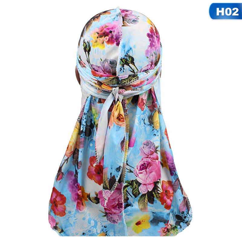 Fashion <font><b>Men's</b></font> Print Silky <font><b>Durags</b></font> Bandanas Turban Headband <font><b>Silk</b></font> <font><b>Men</b></font> DuRag Floral Waves Caps Turban Headwear Hair Accessories image