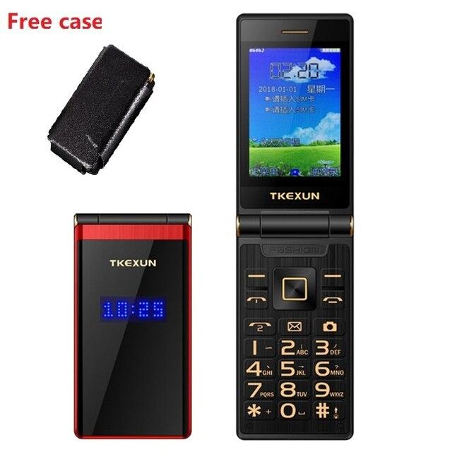"Tkexun Dual Screen 2.8 ""Touch Display Flip Telefoon Lange Standby Sos Snelheid Call Grote Sleutel Bt 2.0 Blacklist Torch twee Sim Gratis Case"
