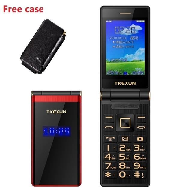 """Tkexun double écran 2.8 """"écran tactile téléphone à rabat longue veille SOS vitesse appel grande clé BT 2.0 liste noire torche deux Sim étui gratuit"""