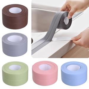 Image 1 - Kuchnia DIY samoprzylepna tapeta taśma graniczna wodoodporna biała, nieprzepuszczalna, uszczelniająca taśma uszczelniająca taśma do naklejania PVC